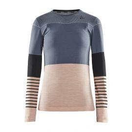 Craft, Fuseknit comfort Blocked RN LS, koszulka termoaktywna, kobiety, asphalt zielony/różowy