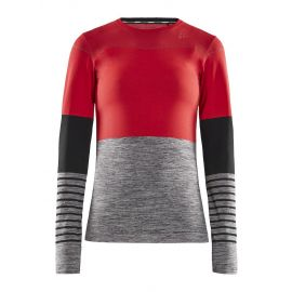 Craft, Fuseknit comfort Blocked RN LS, koszulka termoaktywna, kobiety, beam/dark melange szary/czerwony