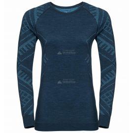 Odlo, Natural+Kinship Warm BL, koszulka termoaktywna, kobiety, melange niebieski