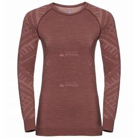 Odlo, Natural+Kinship Warm BL, koszulka termoaktywna, kobiety, melange czerwony