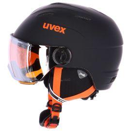 Uvex, Junior Visor Pro,  kask narciarski, dziecięcy, czarno - pomarańczowy mat