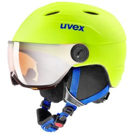 Uvex, Junior visor pro, kask z szybą, dzieci, neon żółty