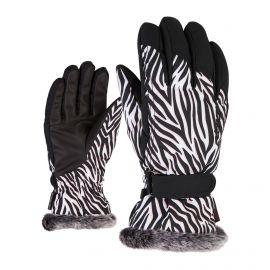 Ziener, Kim Lady, rękawiczki, kobiety, zebra print czarny